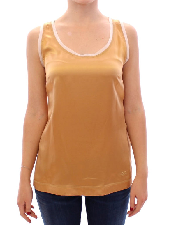 Gold Sleeveless Silk Top Tank
