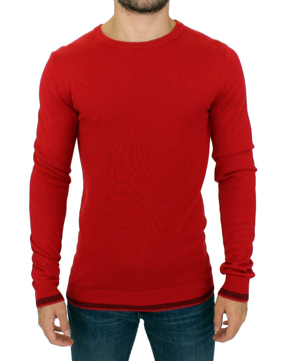 Red crewneck wool sweater