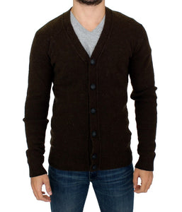 Brown stretch full button cardigan