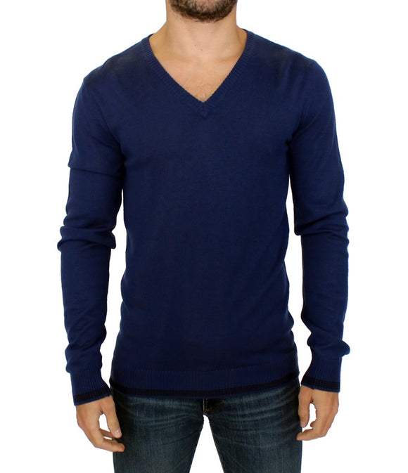 Blue wool V-neck sweater