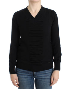 Black V-neck wool sweater