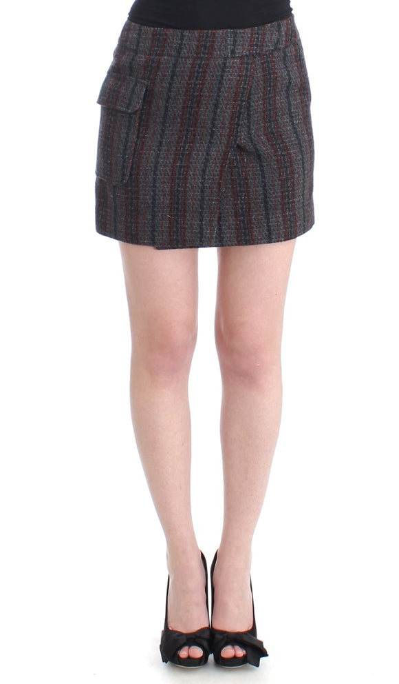 Gray wool mini skirt