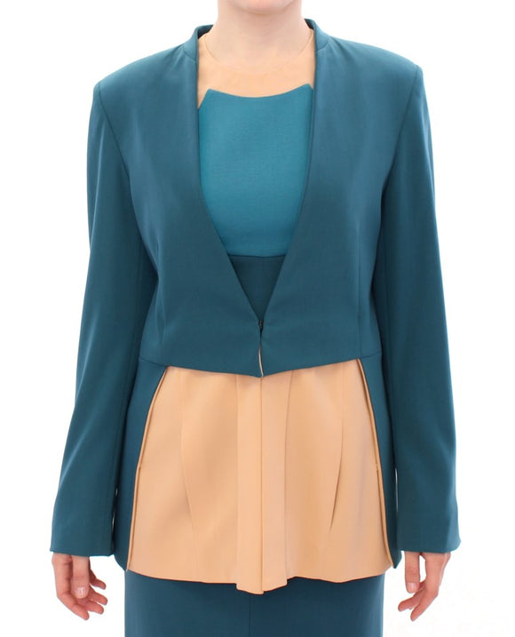 Blue stretch blazer jacket