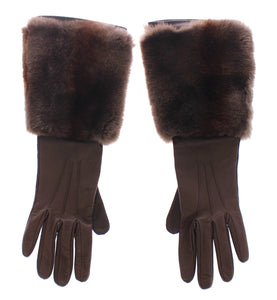 Brown Rabbit Fur Lambskin Leather Gloves Silk