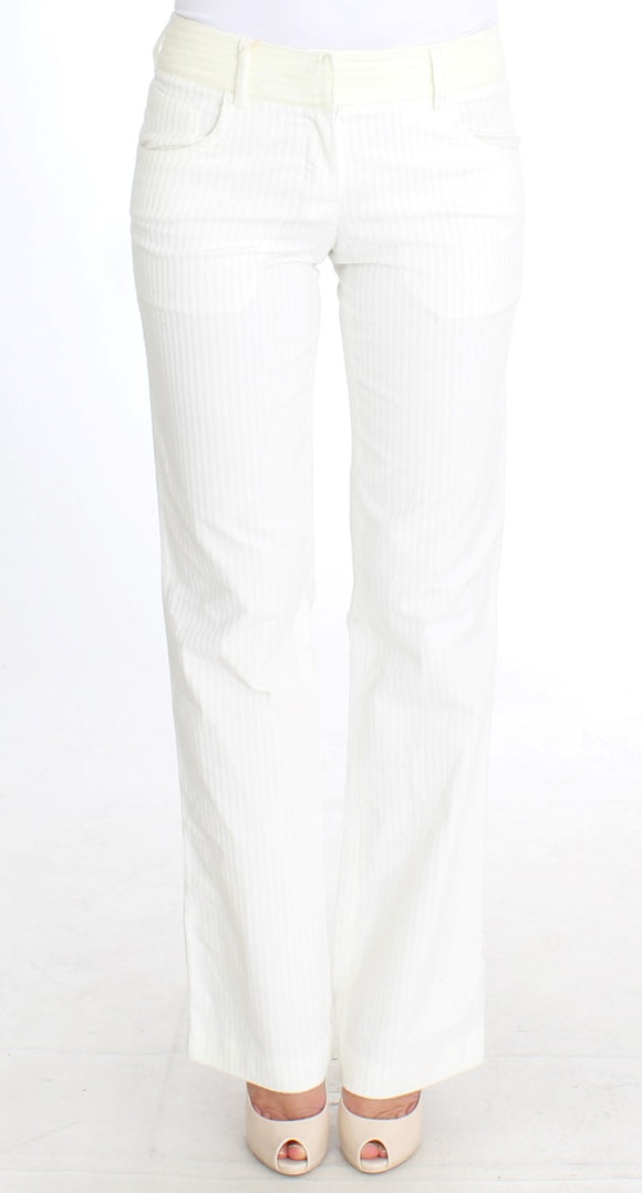 White Striped Straight Fit Pants