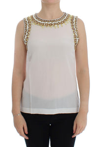 White crystal embellished tank top