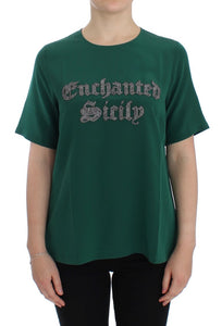 Green silk Enchanted Sicily t-shirt
