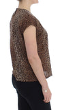 Brown leopard print cotton blouse