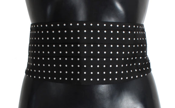Black Polka Dotted Waist Belt Silk Cummerbund