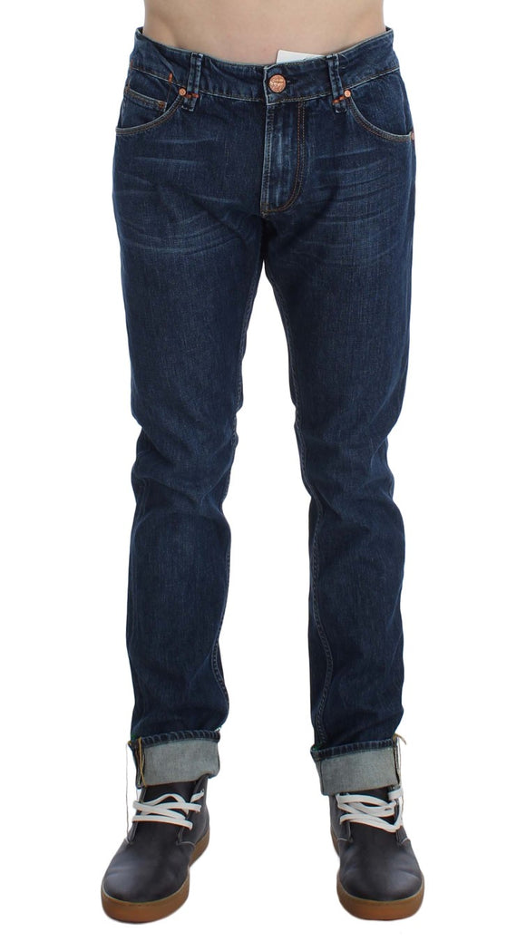 Blue Wash Cotton Stretch Slim Fit Folded Jeans