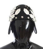Black Wool White Floral Gold Leaf Hat