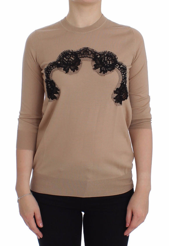 Beige Wool Black Lace Sweater Pullover