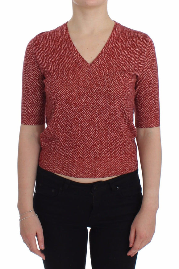 Red Wool Tweed Short Sleeve Sweater Pullover