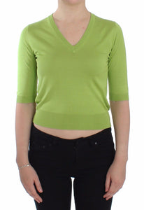Green Wool V-neck Pullover Sweater Top