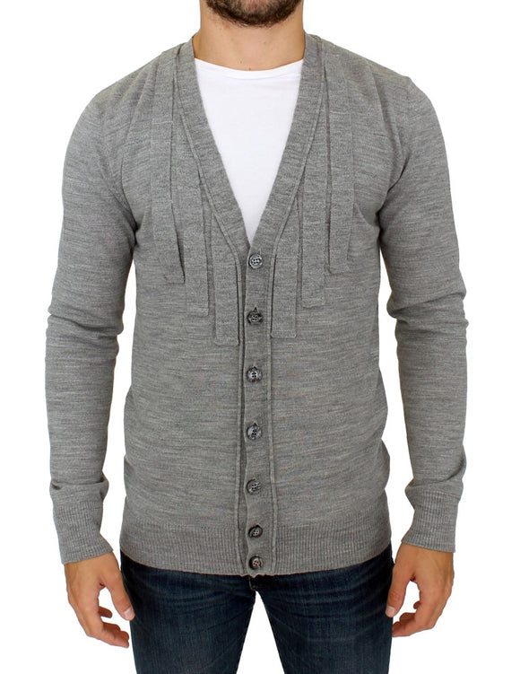 Gray wool cardigan sweater