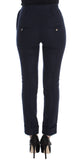Blue Virgin Wool Slim Fit Casual Pants
