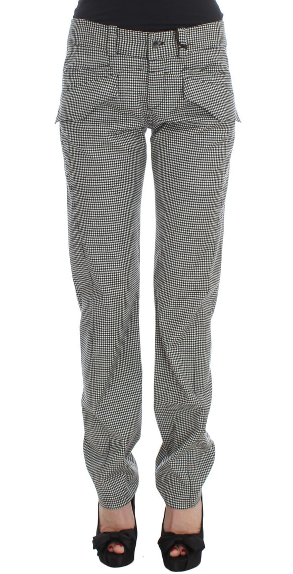 Black White Checkered Cotton Casual Pants