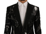 Black Bird Print Silk Slim Blazer Jacket