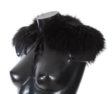 Black Fox Fur Collar Scarf