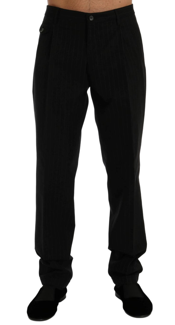 Black Striped Cotton Dress Formal Pants