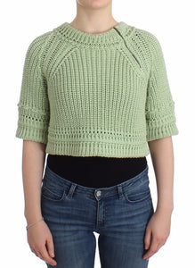 Green Cropped Knit Sweater Knitted Jumper