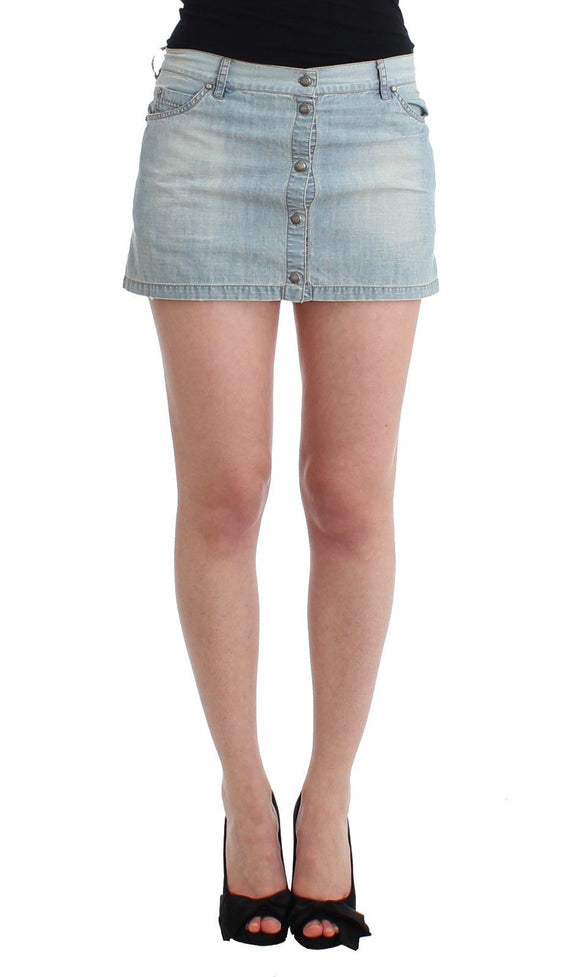 Beachwear Blue Denim Mini Skirt A-Line
