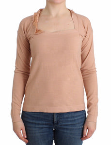 Orange Wool Blend Striped Long Sleeve Top