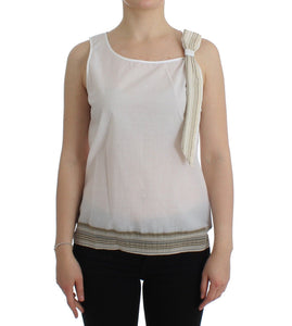 White Top Blouse Tank Shirt Sleeveless