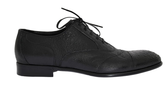 Black Frog Skin Leather Derby Shoes