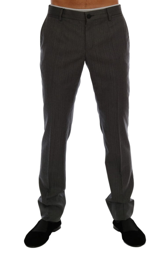 Gray Wool Striped Formal Pants