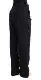 Black Cotton Straight Leg Formal Pants