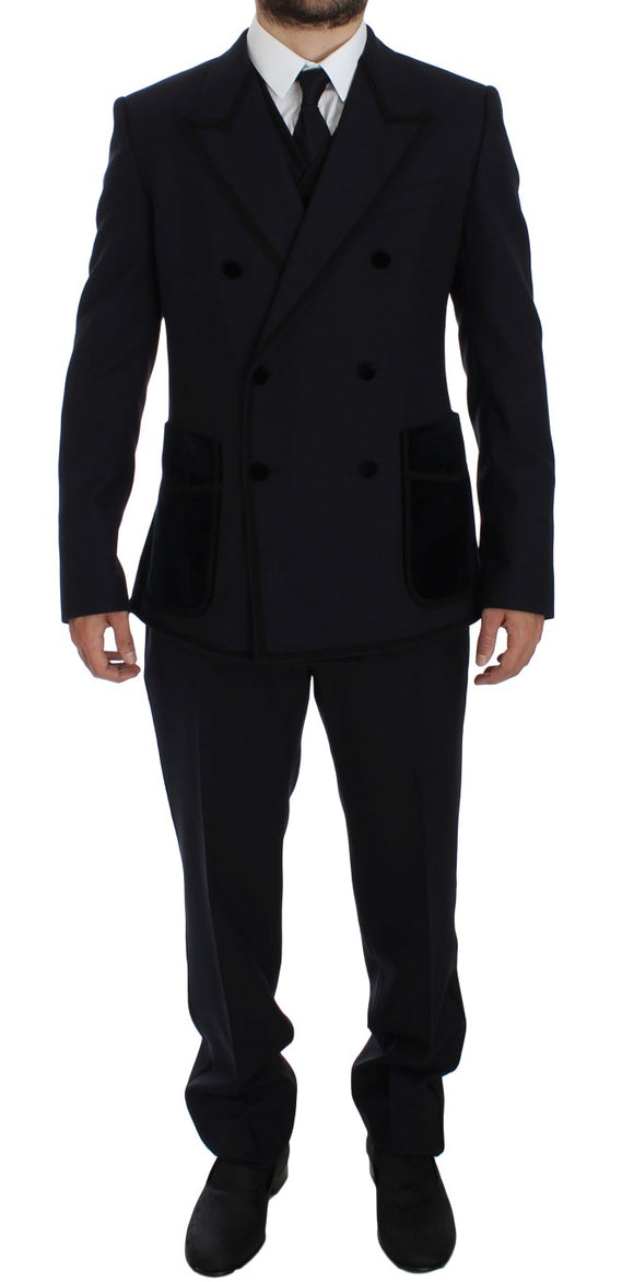 Blue Wool Torero Slim 3 Piece Suit Tuxedo
