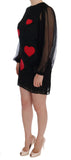 Black Lace Red Heart Shift Dress