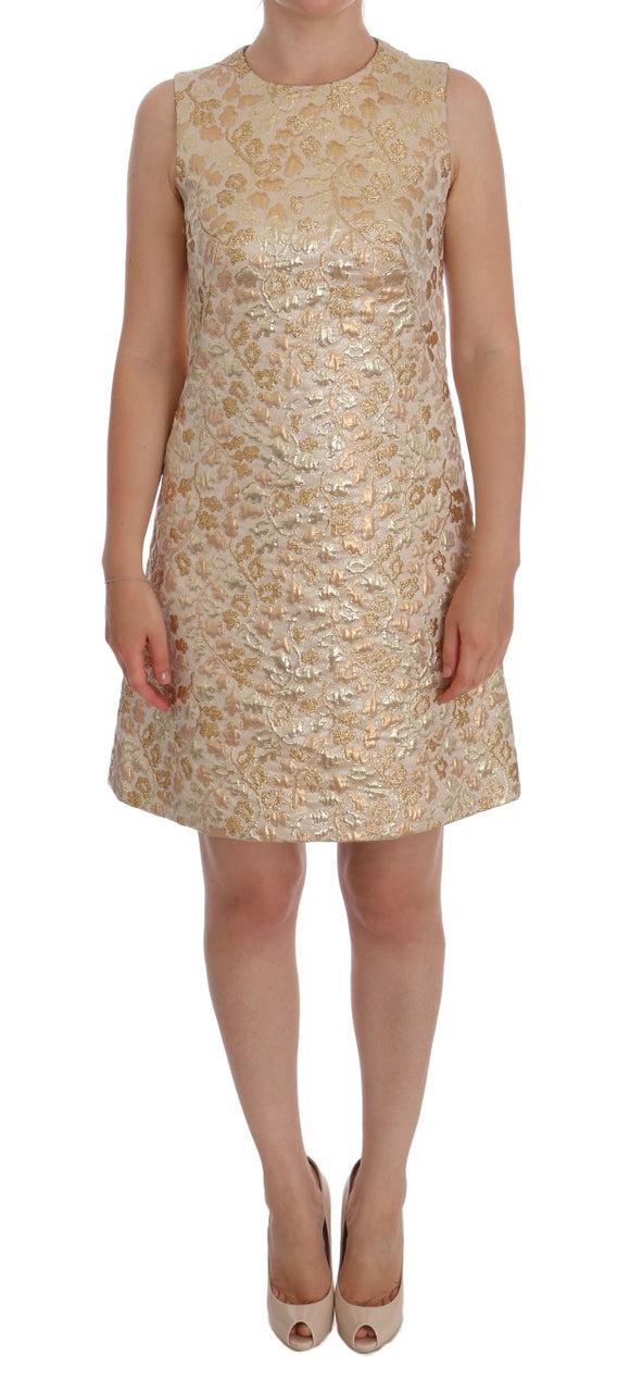 Gold Floral Jacquard Shift Dress