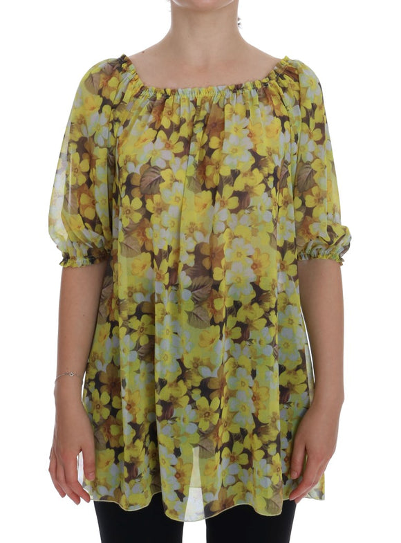 Yellow Floral Transparent Blouse