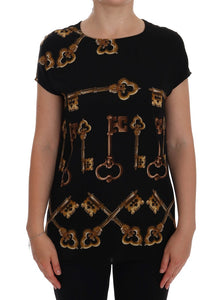 Black Gold Key Print Silk Blouse