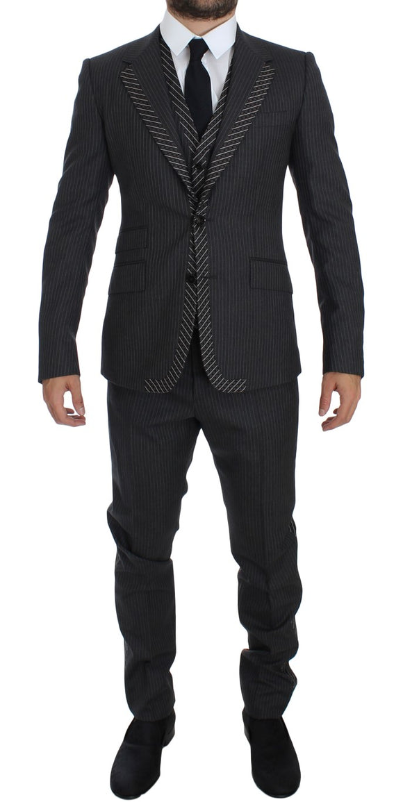 Gray Striped 3 Piece Slim Single Breasted Suit Tuxedo
