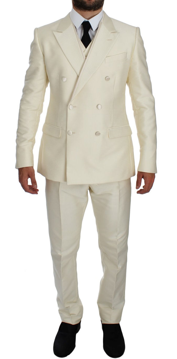 White Slim Double Breasted 3 Piece Suit