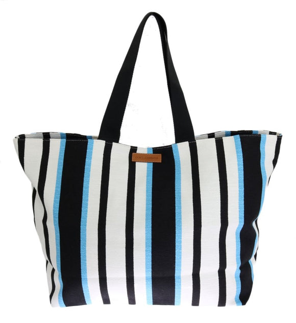 Blue White Striped Cotton Shopping Tote