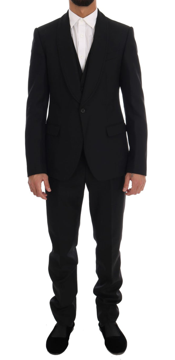 Black Wool One Button Slim Fit Suit