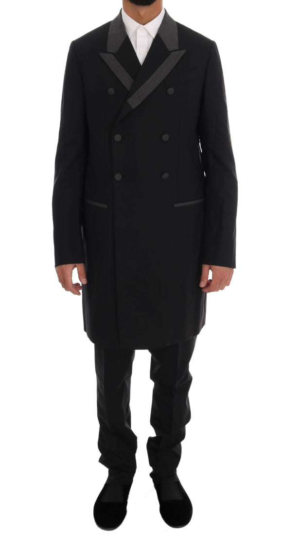 Black Wool Stretch 3 Piece Two Button Suit
