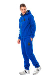 Blue Cotton Hooded Floral Lined Sweatsuit