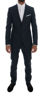 Blue Striped Two Button Slim Fit Suit