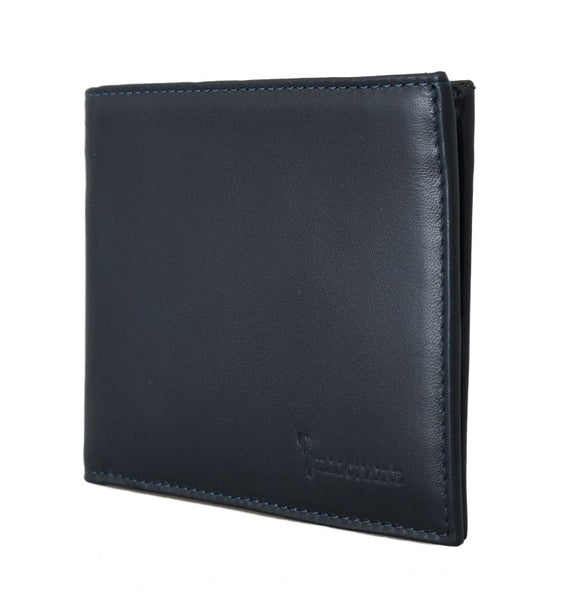 Navy Blue Leather Bifold Wallet