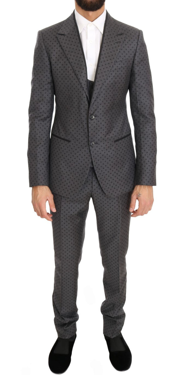 Gray Polka Dotted Slim Fit 3 Piece Suit