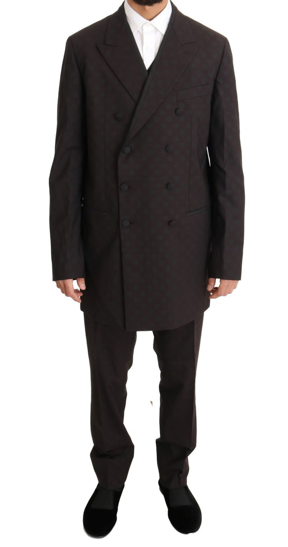 Bordeaux Wool Stretch Long 3 Piece Suit