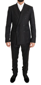 Brown Wool Double Breasted Slim Fit  3 Piece Suit