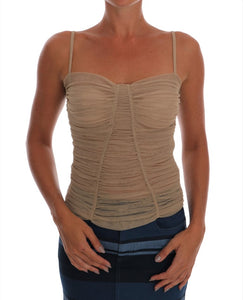 Beige Stretch Cotton Tank Top