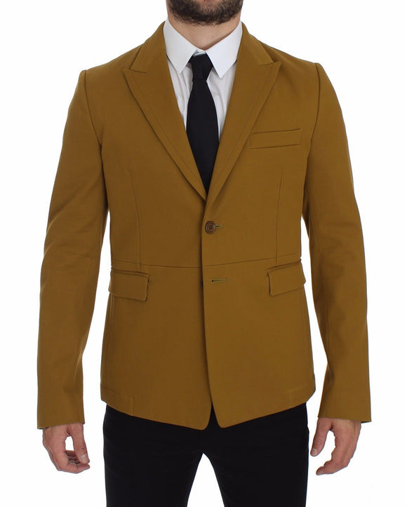 Yellow Cotton Stretch Blazer