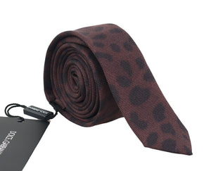 Brown Silk Black Dotted Slim Tie